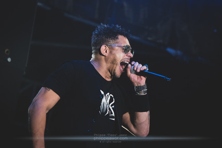 """The French rap artist Didier """"Joey Starr"""" Morville, live at Foreztival festival, Trelins, France, August 2019.  © Philippe """"Pippo"""" Jawor All rights reserved."""