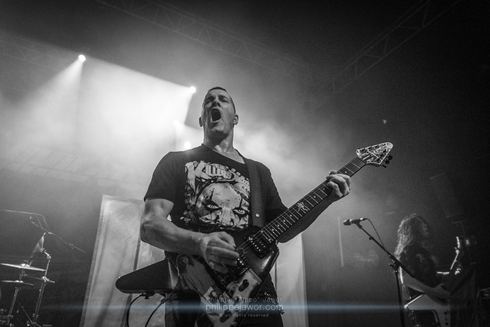 """Jeff Waters, lead singer of the Canadian thrash metal band Annihilator, live in Lyon, France, December 2017.  © Philippe """"Pippo"""" Jawor All rights reserved."""