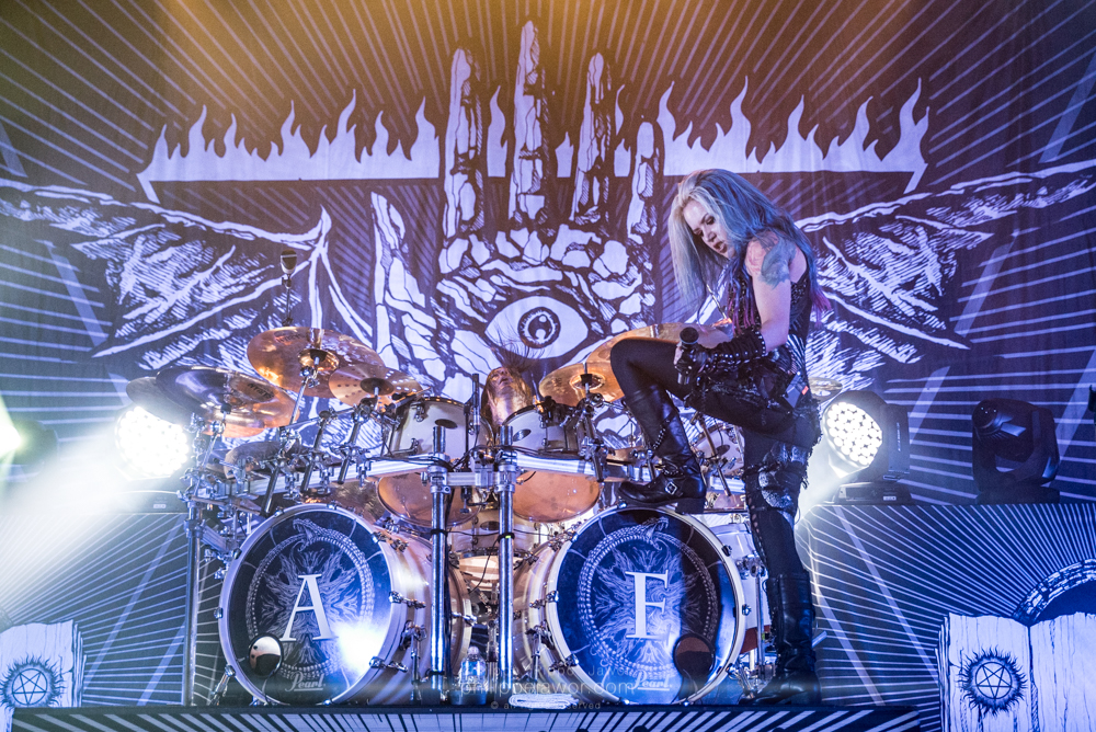 "Daniel Erlandsson (left), drummer, and Alissa White-Gluz (right), lead singer of the Swedish melodic death metal band Arch Enemy, live in Lyon, France, January 2018.  © Philippe ""Pippo"" Jawor All rights reserved."