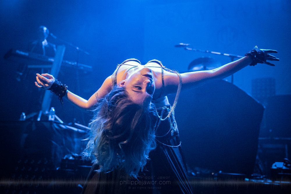 """Kahina Spirit, dancer of the Tunisian progressive metal band Myrath, live in Lyon, France, November 2017.  ©Philippe """"Pippo"""" Jawor All rights reserved."""