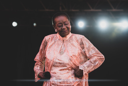 """The Tobagonian Calypso artist Linda McArtha Monica """"Calypso Rose"""" Sandy-Lewis, live at Foreztival festival, Trelins, France, August 2019.  © Philippe """"Pippo"""" Jawor All rights reserved."""