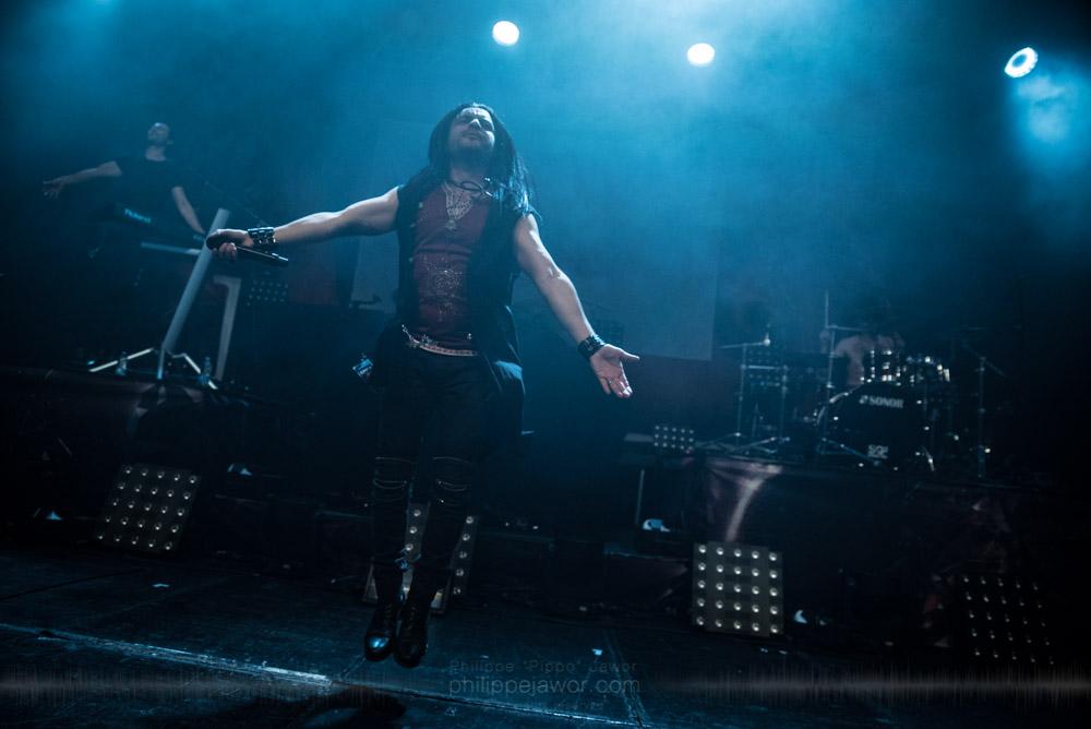 "Zaher Zorgati, lead singer of the Tunisian progressive metal band Myrath, live in Lyon, France, November 2017.  ©Philippe ""Pippo"" Jawor All rights reserved."