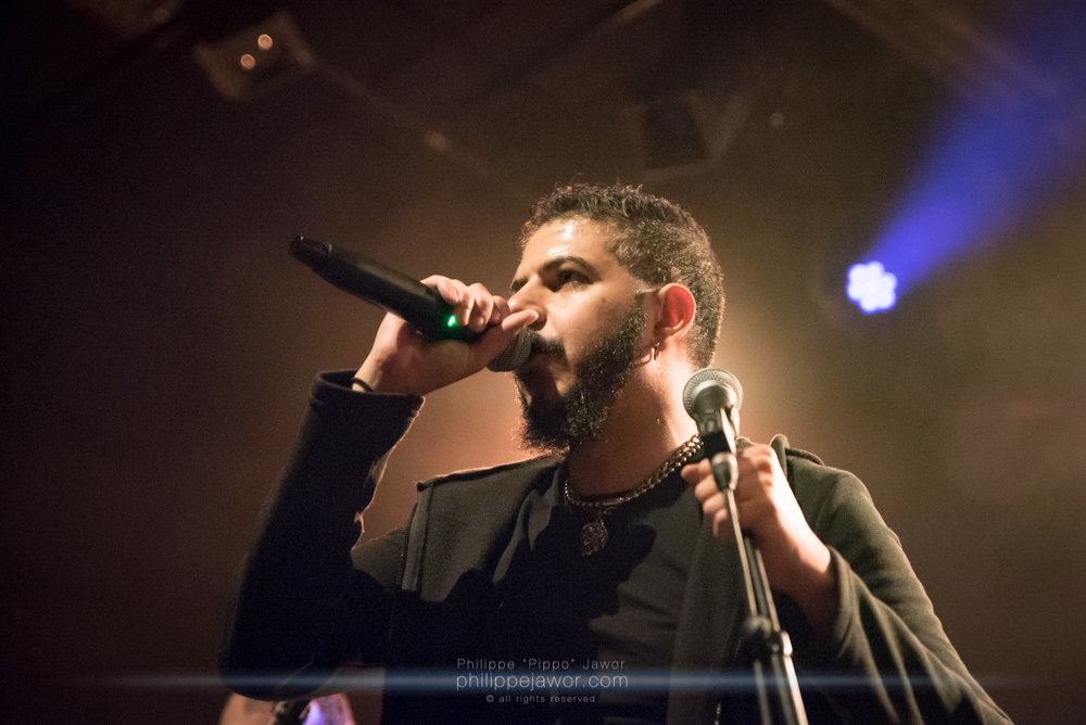 """Bassem Fakhri, lead singer of the Egyptian symphonic death metal band Odious, live in Lyon, France, January 2018.  © Philippe """"Pippo"""" Jawor All rights reserved."""