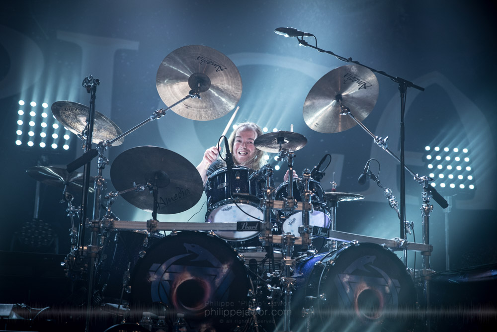 """Ariën van Weesenbeek, drummer of the Dutch symphonic metal band Epica live in Lyon, France, November 2017.  © Philippe """"Pippo"""" Jawor All rights reserved."""