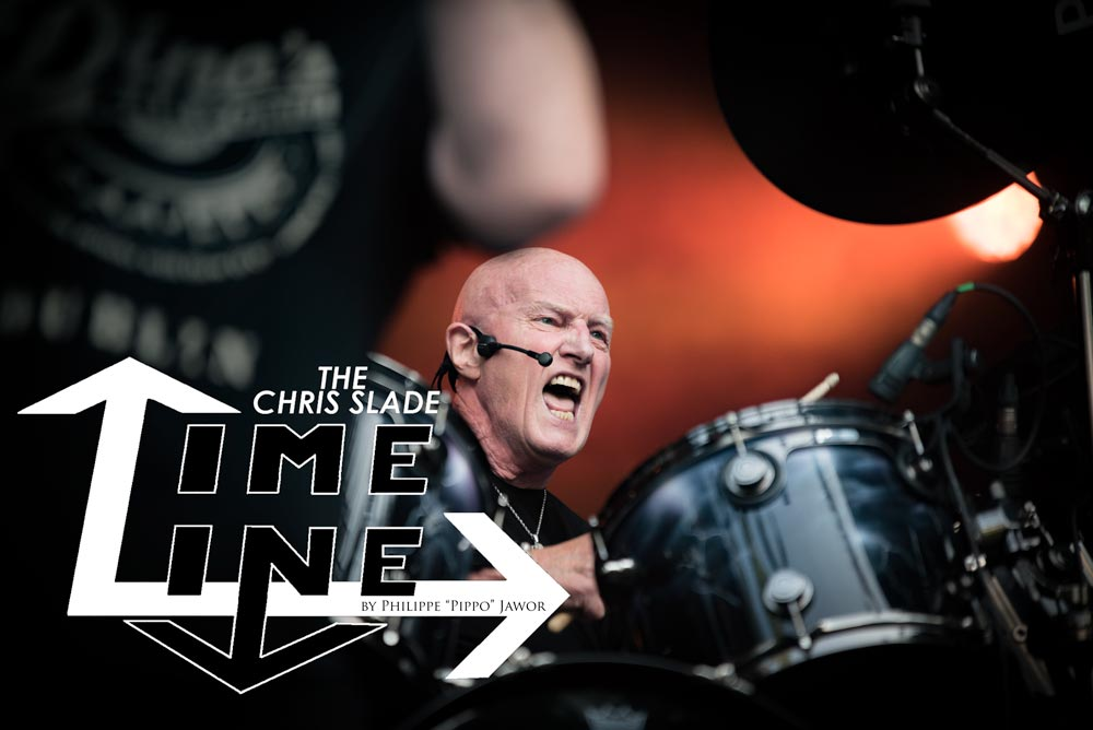 The English drummer Chris Slade's band The Chris Slade Timeline at Sylak Open Air festival, Saint Maurice de Gourdans, France, August 2017.  On assignment for Metal Obs' Magazine All rights reserved.