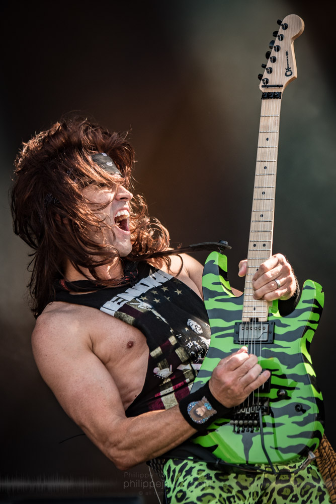 "Russ ""Satchel"" Parrish, guitarist of the glam metal band Steel Panther, live at Hellfest Open Air festival, Clisson, France, June 2017.  On assignment for Metal Obs' Magazine.  © Philippe ""Pippo"" Jawor All rights reserved."