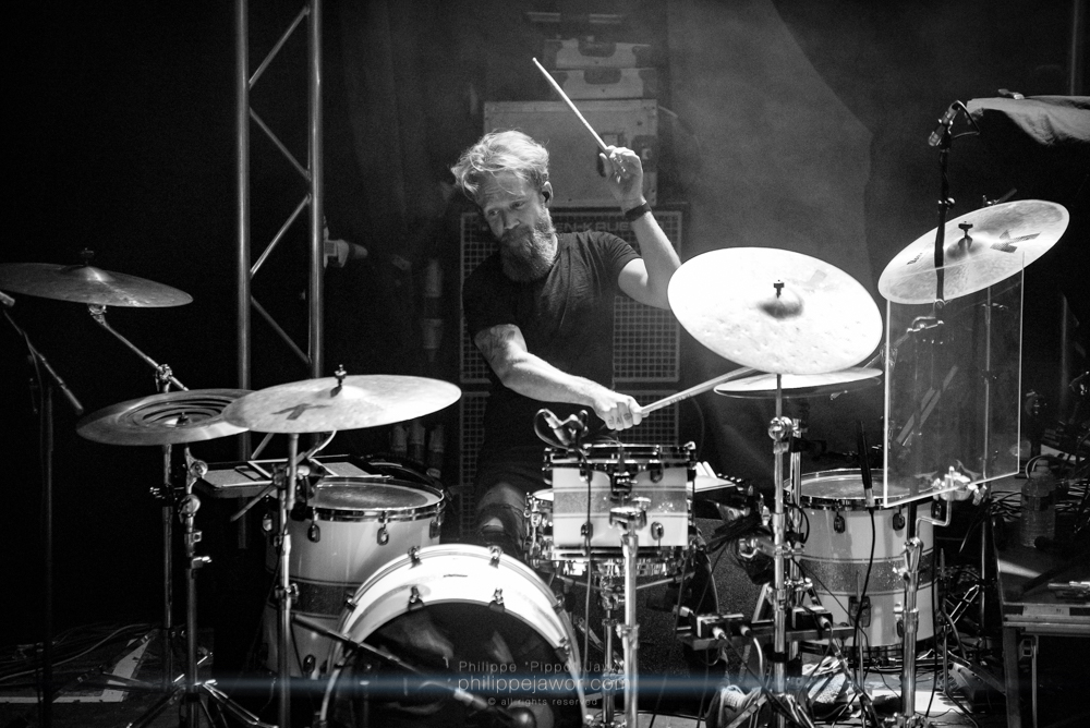 """Merlin Sutter, drummer of the Swiss folk metal band Cellar Darling, live in Lyon, France, December 2017.  © Philippe """"Pippo"""" Jawor All rights reserved."""