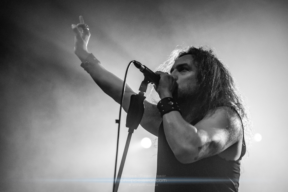 """Mark Osegueda, lead singer of the American thrash metal band Death Angel, live in Lyon, France, December 2017.  © Philippe """"Pippo"""" Jawor All rights reserved."""