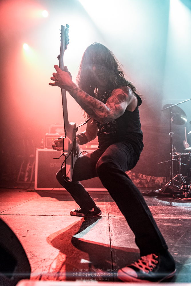 """Rob Cavestany, lead guitarist of the American thrash metal band Death Angel, live in Lyon, France, December 2017.  © Philippe """"Pippo"""" Jawor All rights reserved."""