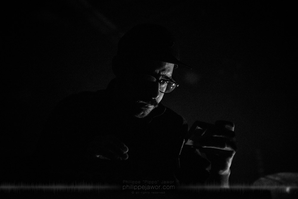 """Antony Miranda, Moog player of the French avantgarde metal band Pryapisme live in Lyon, France, November 2017.  © Philippe """"Pippo"""" Jawor All rights reserved."""