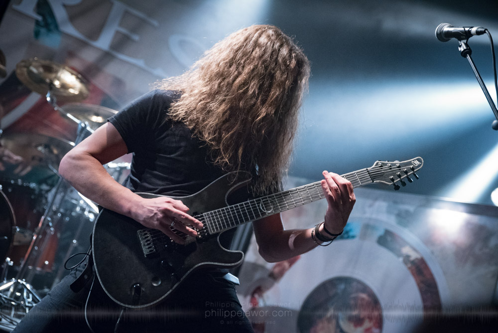 """Bart Hennephof, guitar player of the Dutch progressive metal band Textures, live in Lyon, France, November 2017.  On assignment for Metal Obs' Magazine © Philippe """"Pippo"""" Jawor All rights reserved."""