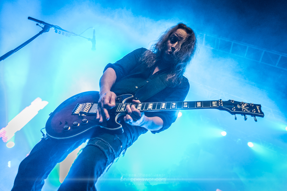 """Sami Yli-Sirniö, guitarist of the German thrash metal band Kreator, live in Lyon, France, January 2018.  © Philippe """"Pippo"""" Jawor All rights reserved."""