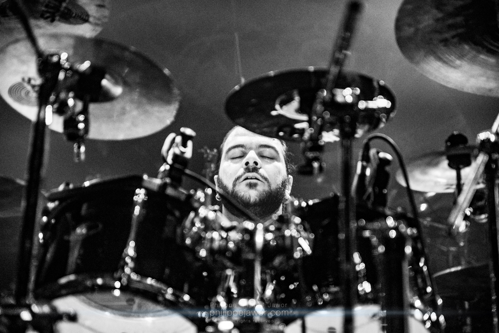 """George """"Tzortzis"""" Boulos, drummer of the Egyptian symphonic death metal band Odious, live in Lyon, France, January 2018.  © Philippe """"Pippo"""" Jawor All rights reserved."""