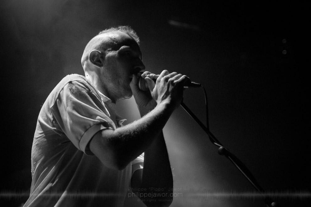 """Benjamin Bardiaux, keyboards player of the French avantgarde metal band Pryapisme live in Lyon, France, November 2017.  © Philippe """"Pippo"""" Jawor All rights reserved."""