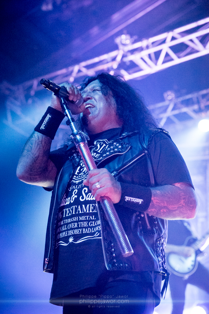 """Chuck Billy, lead singer of the American thrash metal band Testament, live in Lyon, France, December 2017.  © Philippe """"Pippo"""" Jawor All rights reserved."""