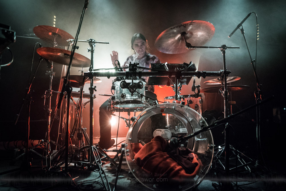 """Aymeric Thomas, drummer of the French avantgarde metal band Pryapisme live in Lyon, France, November 2017.  © Philippe """"Pippo"""" Jawor All rights reserved."""