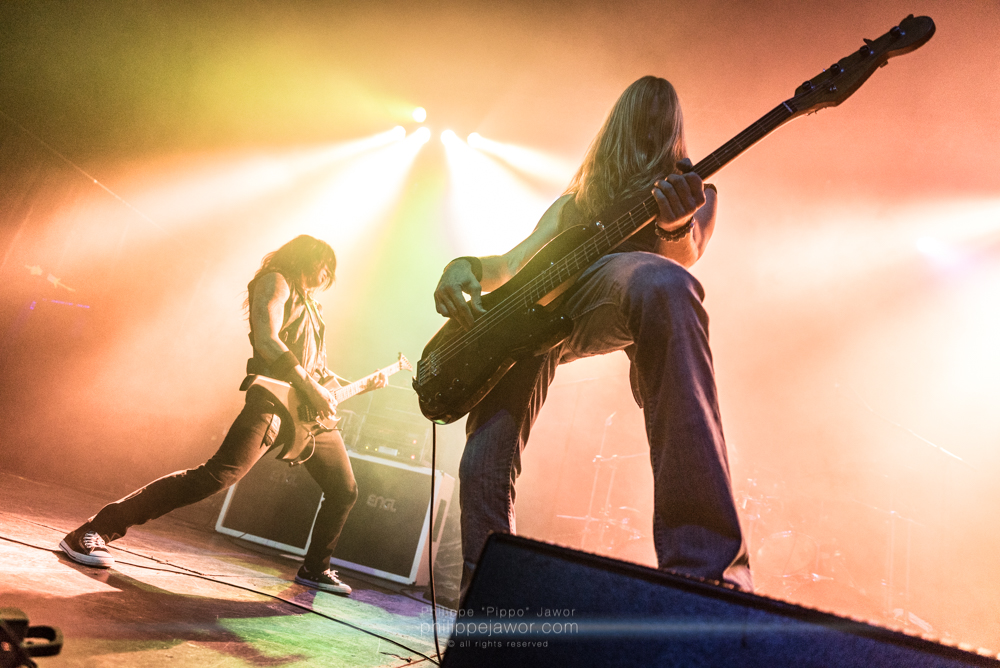 """Rob Cavestany (left), lead guitarist, and Damien Sisson (right), bass player of the American thrash metal band Death Angel, live in Lyon, France, December 2017.  © Philippe """"Pippo"""" Jawor All rights reserved."""