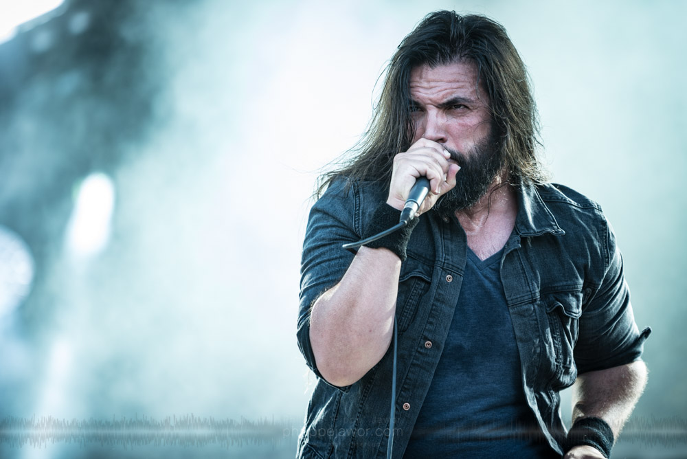 "Daniël de Jongh, lead singer of the Dutch progressive metal band Textures, live at Hellfest Open Air festival, Clisson, France, June 2017.  On assignment for Metal Obs' Magazine.  © Philippe ""Pippo"" Jawor All rights reserved."