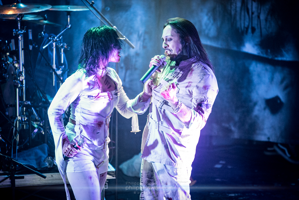 """Cristina Scabbia (left) and Andrea Ferro, lead singers of the Italian gothic metal band Lacuna Coil, live in Lyon, France, December 2017.  © Philippe """"Pippo"""" Jawor All rights reserved."""