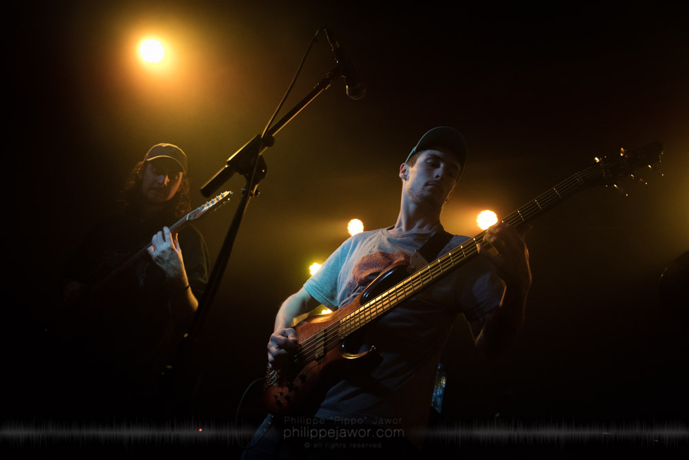 "Scott LePage (left), guitarist, and Clay Gober (right), bass player of the American progressive metal band Polyphia, live in Lyon, France, November 2017.  © Philippe ""Pippo"" Jawor All rights reserved."
