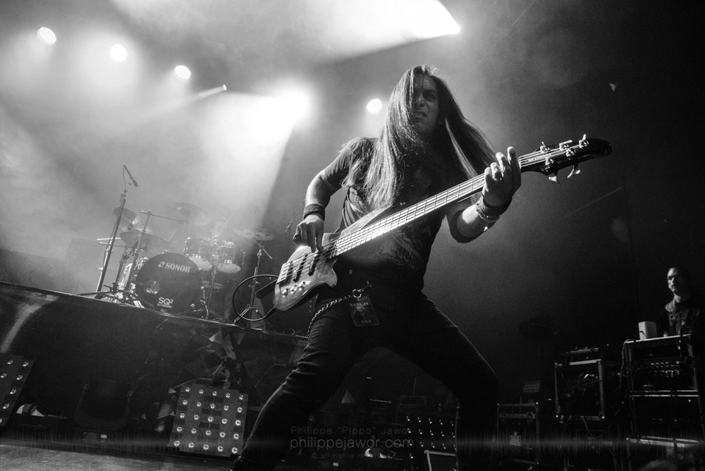 """Anis Jouini, bass player of the Tunisian progressive metal band Myrath, live in Lyon, France, November 2017.  ©Philippe """"Pippo"""" Jawor All rights reserved."""