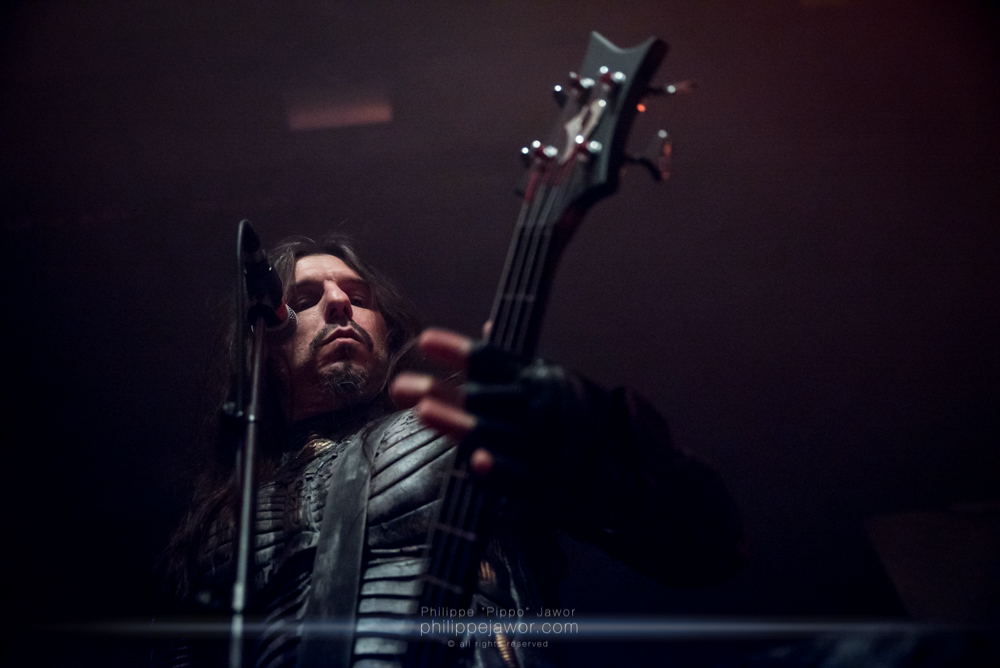 """Spiros Antoniou, bass player and lead singer of the Greek symphonic death metal band Septicflesh, live in Lyon, France, January 2018.  © Philippe """"Pippo"""" Jawor All rights reserved."""