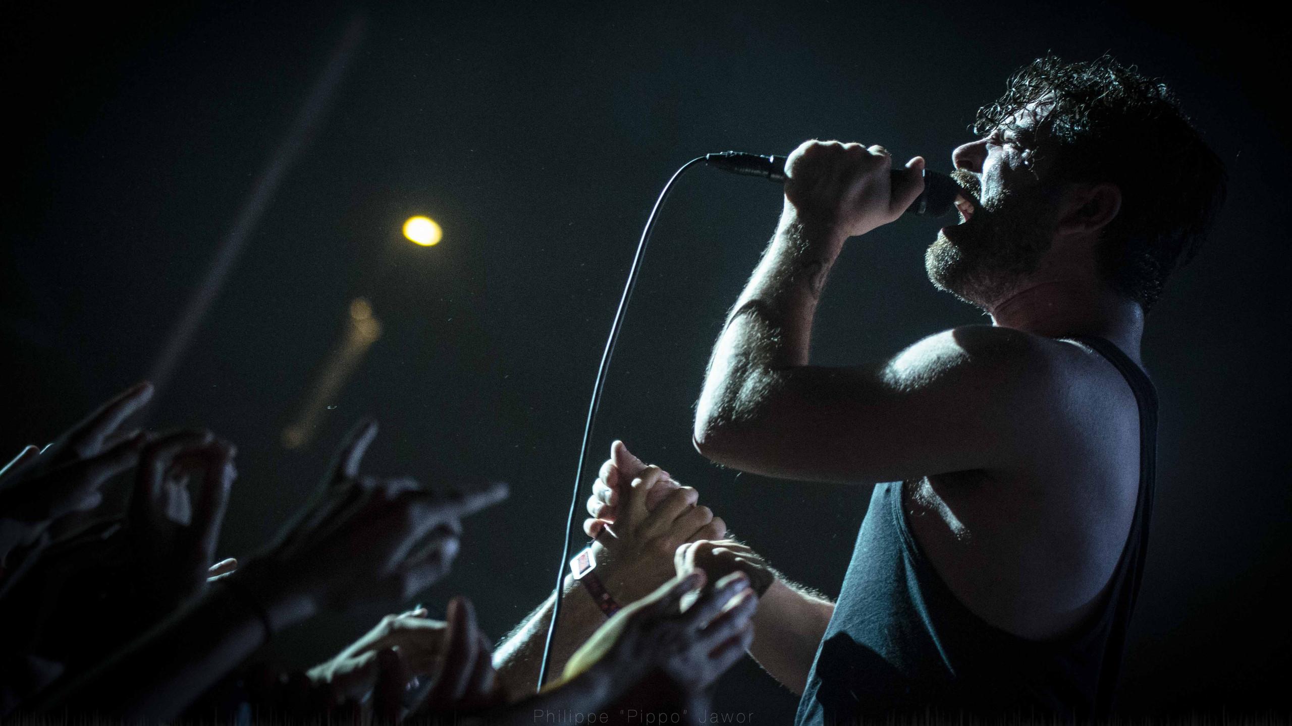 Yannis Philippakis, lead singer of the British rock band Foals, at Rock en Seine festival, August 2016.