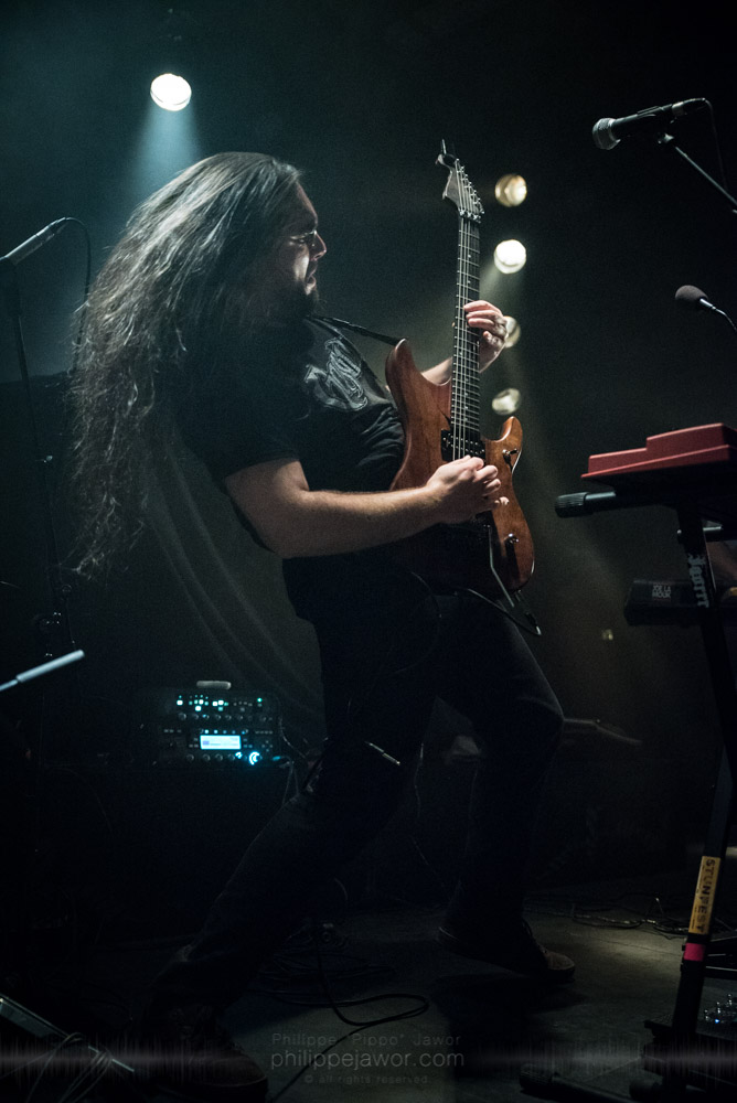 """Nicolas Sénac, guitarist of the French avantgarde metal band Pryapisme live in Lyon, France, November 2017.  © Philippe """"Pippo"""" Jawor All rights reserved."""