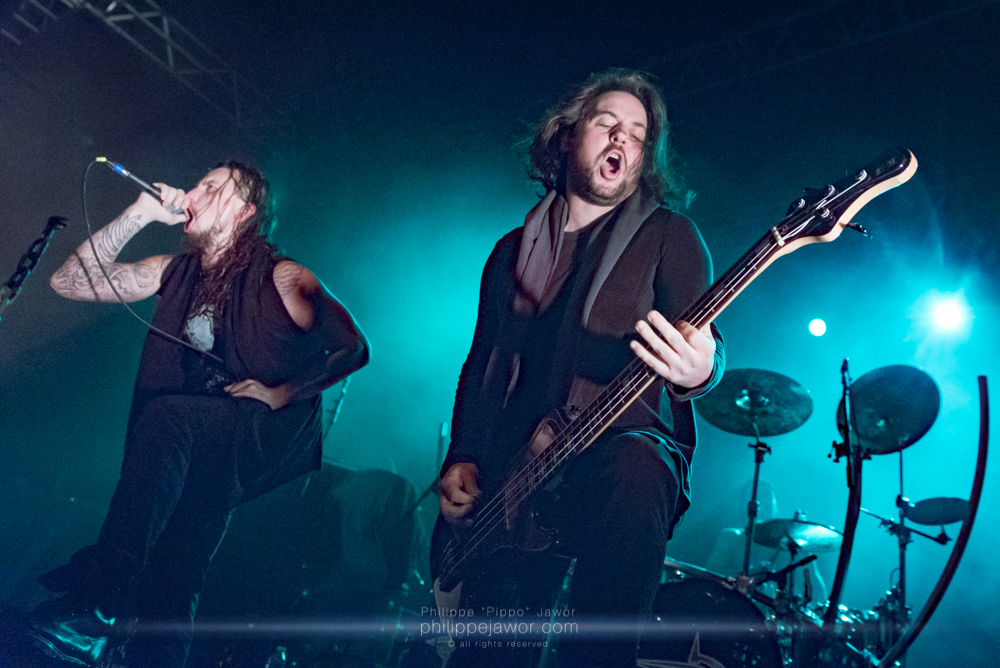"""Pierre """"Shawter"""" Maille (left), lead singer, and Werther Ytier (right), bass player of the French melodic death metal band Dagoba, live in Lyon, France, January 2018.  © Philippe """"Pippo"""" Jawor All rights reserved."""
