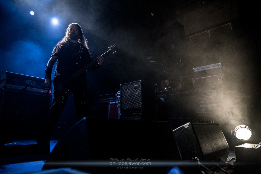 """Tomasz """"Hal"""" Halicki, bass player of the Polish death metal band Vader, live in Lyon, France, January 2018.  © Philippe """"Pippo"""" Jawor All rights reserved."""
