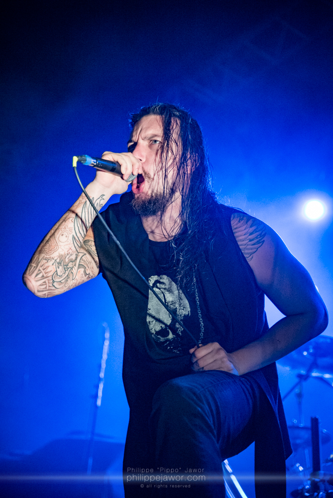 """Pierre """"Shawter"""" Maille, lead singer of the French melodic death metal band Dagoba, live in Lyon, France, January 2018.  © Philippe """"Pippo"""" Jawor All rights reserved."""