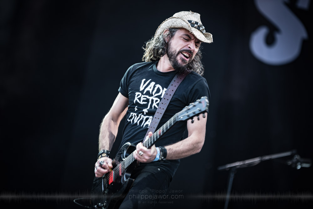 "Benjamin « Viber » Bury, guitarist of the French industrial metal band Sidilarsen, live at Hellfest Open Air festival, Clisson, France, June 2017.  On assignment for Metal Obs' Magazine.  © Philippe ""Pippo"" Jawor All rights reserved."