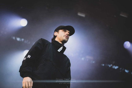 """The French hip-hop artist Aurélien """"Orelsan"""" Cotentin, live at Beauregard Festival, Hérouville-Saint-Clair, France, July 2018  © Philippe """"Pippo"""" Jawor All rights reserved."""