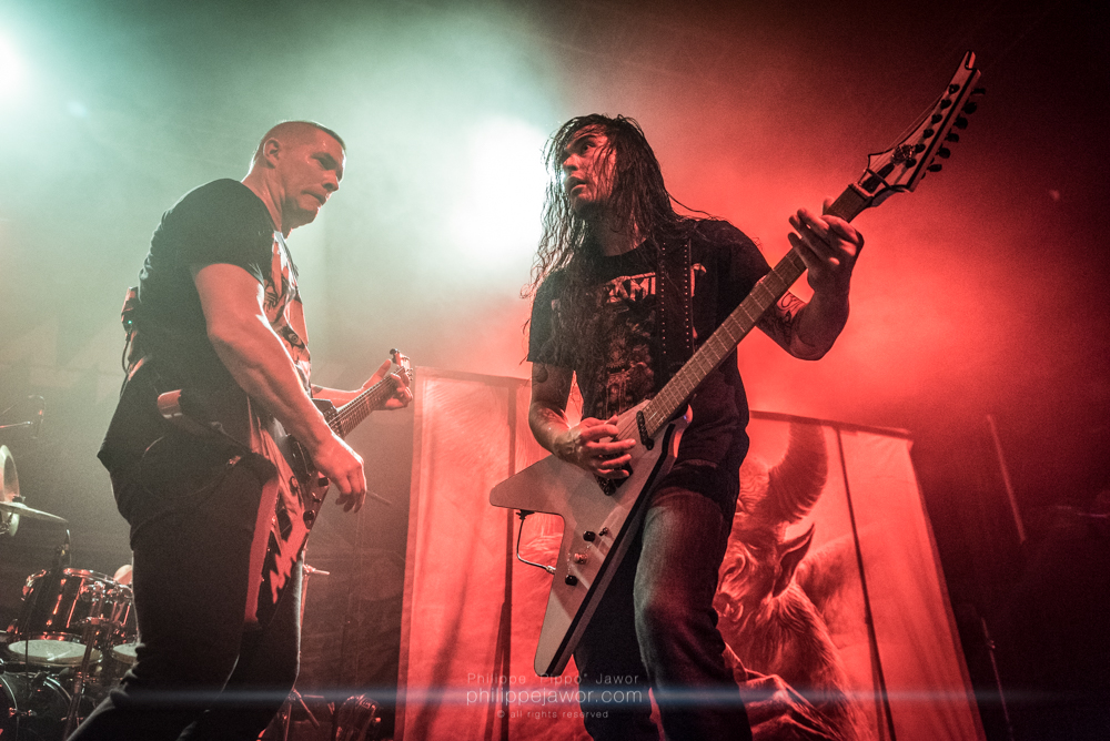 """Jeff Waters (left), lead singer, and Aaron Homma (right), guitarist of the Canadian thrash metal band Annihilator, live in Lyon, France, December 2017.  © Philippe """"Pippo"""" Jawor All rights reserved."""