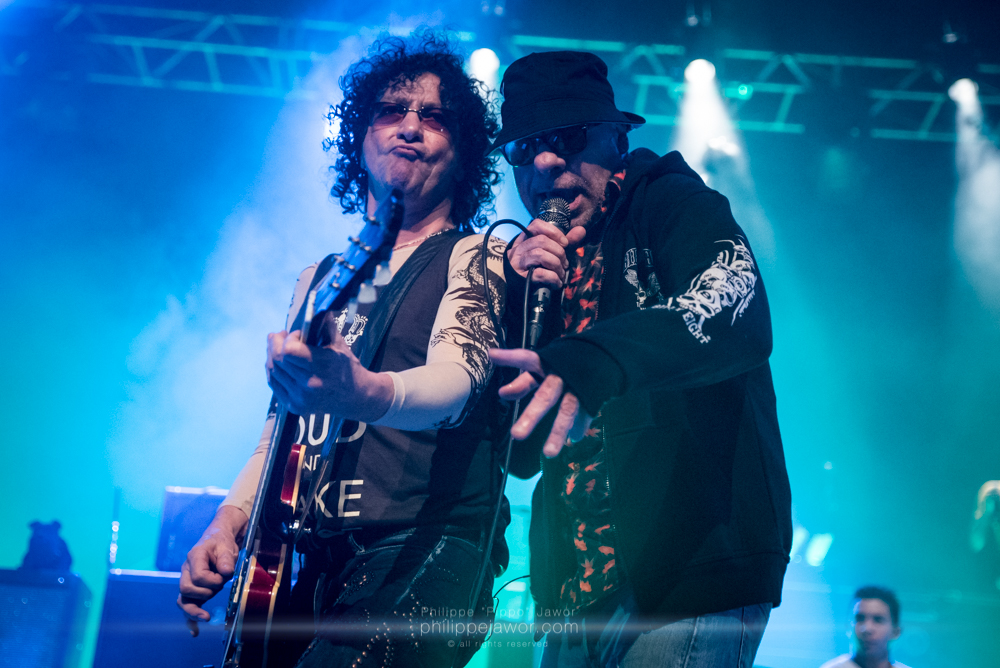 "Norbert ""Nono"" Krief (left), lead guitarist, and Bernard ""Bernie"" Bonvoisin (right), lead singer of the French hard rock band Trust, live in Lyon, France, December 2017.  © Philippe ""Pippo"" Jawor All rights reserved."