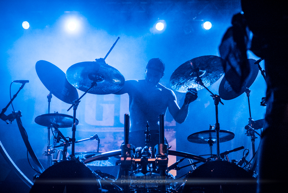 """Nicolas Bastos, drummer of the French melodic death metal band Dagoba, live in Lyon, France, January 2018.  © Philippe """"Pippo"""" Jawor All rights reserved."""
