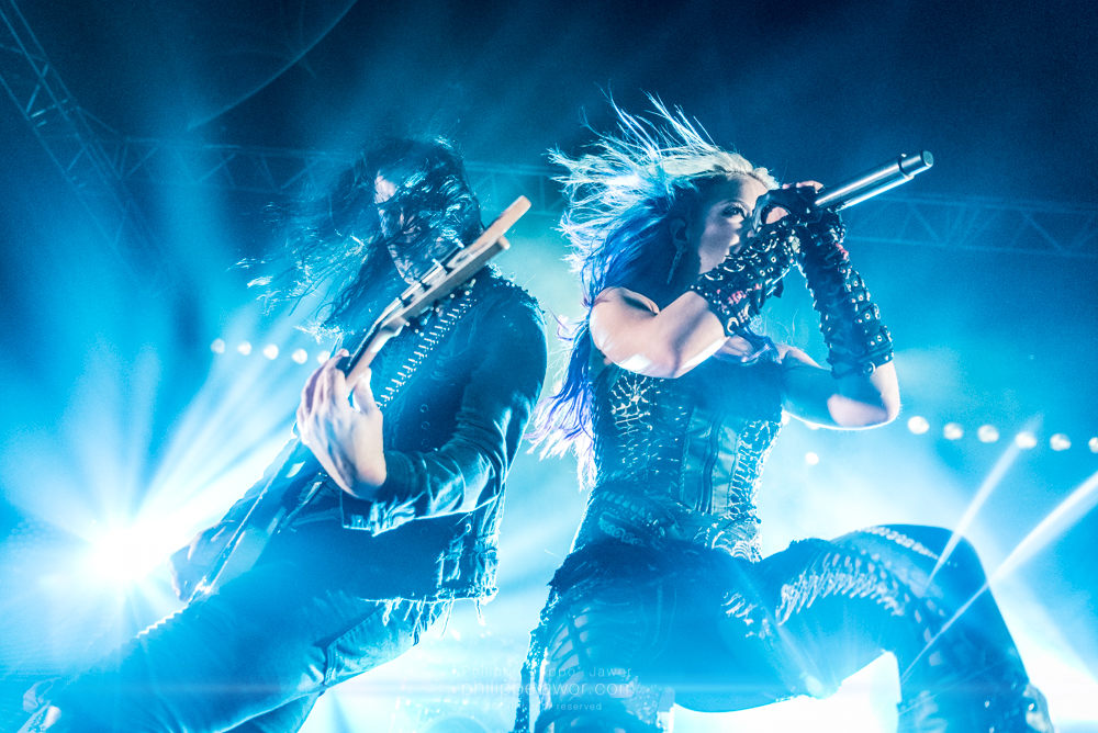 "Michael Amott (left), guitarist, and Alissa White-Gluz (right), lead singer of the Swedish melodic death metal band Arch Enemy, live in Lyon, France, January 2018.  © Philippe ""Pippo"" Jawor All rights reserved."