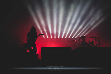 """The French electronic project Carpenter Brut, live at Beauregard Festival, Hérouville-Saint-Clair, France, July 2018.  © Philippe """"Pippo"""" Jawor All rights reserved."""