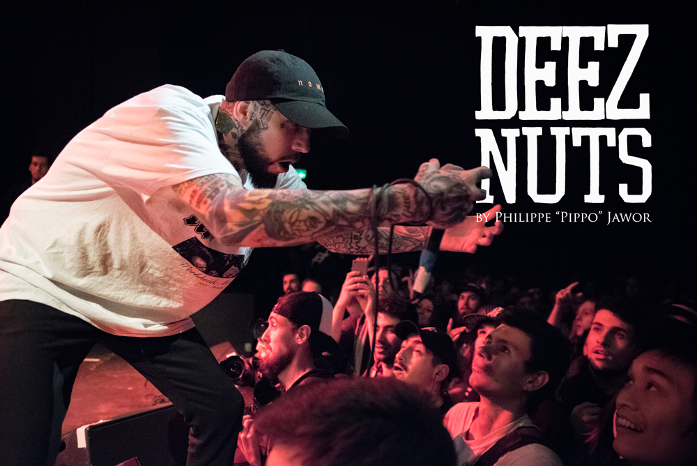 """Joseph John """"JJ"""" Peters, lead singer of the Australian metalcore band Deez Nuts, live in Lyon, France, with the Impericon Never Say Die! Tour, November 2017.  © Philippe """"Pippo"""" Jawor All rights reserved."""