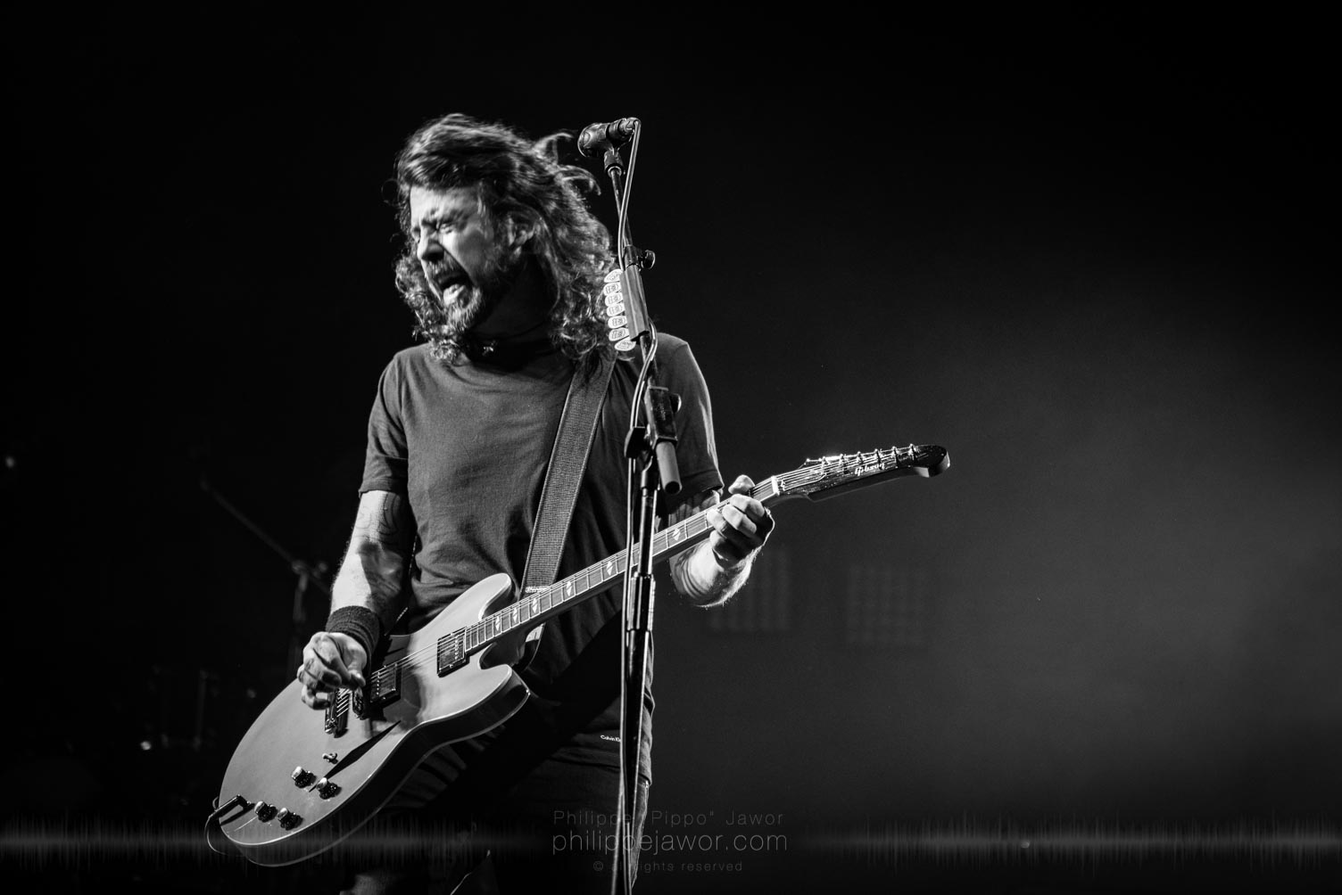 "Dave Grohl, lead singer and guitarist of the American rock band Foo Fighters @ AccorHotels Arena, Paris, France, July 2017.  © Philippe ""Pippo"" Jawor on assignment for Metal Obs' Magazine, all rights reserved."