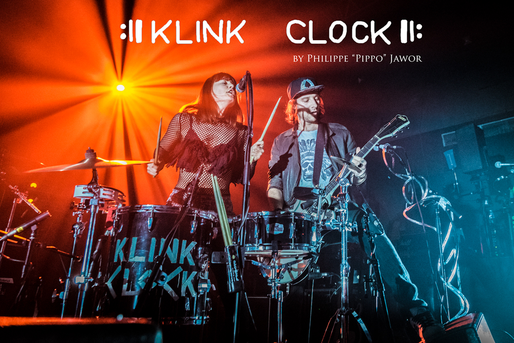 "The French rock duo Klink Clock, live in Lyon, France, December 2017.  © Philippe ""Pippo"" Jawor All rights reserved."