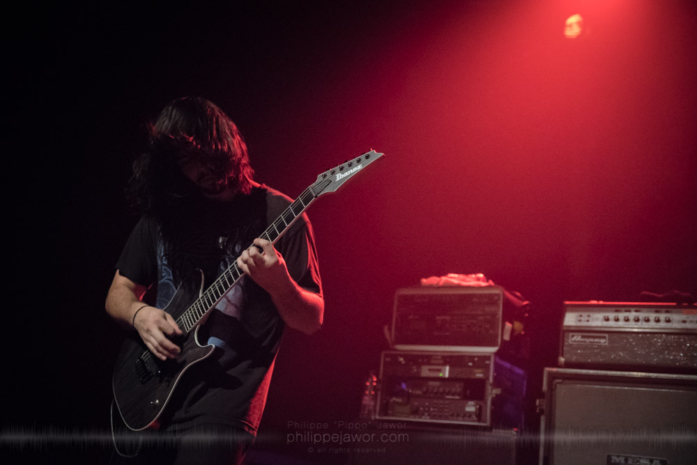 """Connor Deffley, guitarist of the American deathcore band Lorna Shore, live in Lyon, France, with the Never Say Die! Tour, November 2017.  © Philippe """"Pippo"""" Jawor All rights reserved."""