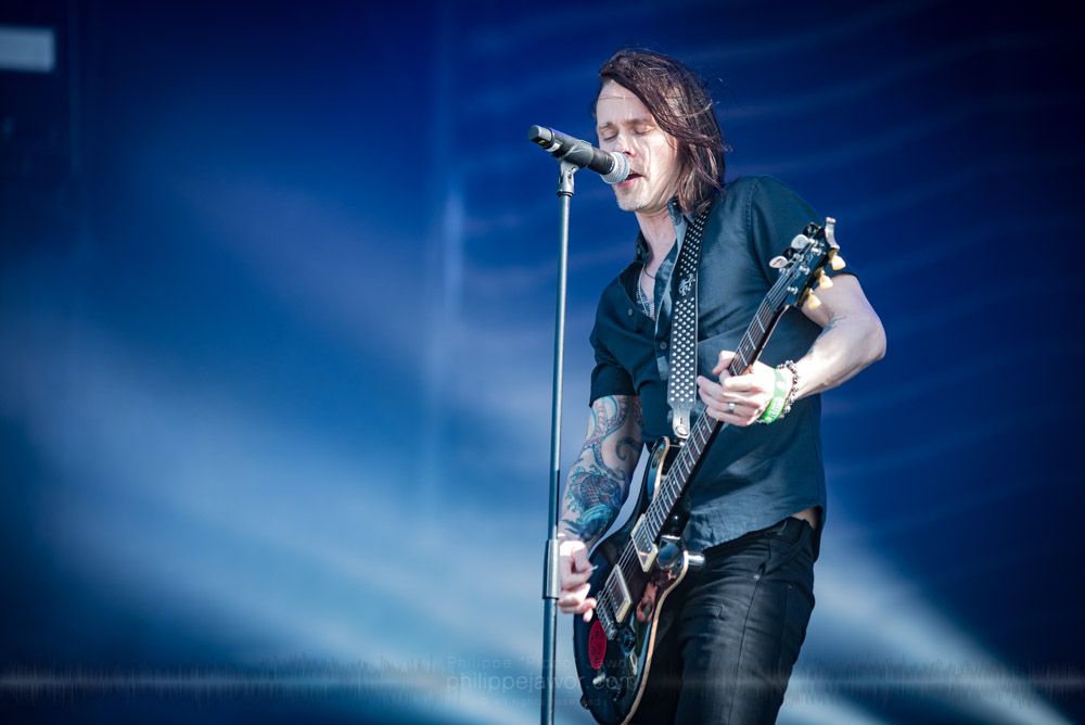 "Myles Kennedy, lead singer and guitarist of the American hard rock band Alter Bridge, live at Hellfest Open Air festival, Clisson, France, June 2017.  On assignment for Metal Obs' Magazine.  © Philippe ""Pippo"" Jawor All rights reserved."