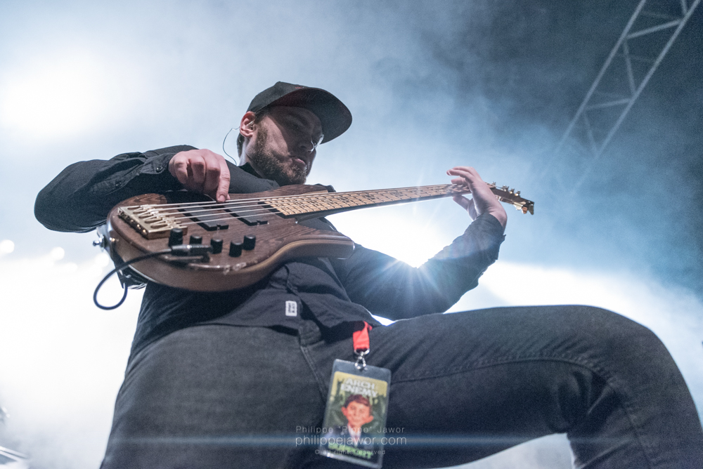 "Eugene Kostyuk, bass player of the Ukrainian groove metal band Jinjer, live in Lyon, France, January 2018.  © Philippe ""Pippo"" Jawor All rights reserved."