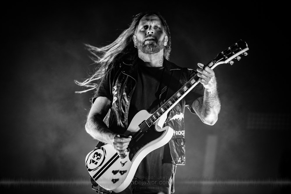 "Niclas Engelin, guitarist of the Swedish melodic death metal band In Flames, live at Hellfest Open Air festival, Clisson, France, June 2017.  On assignment for Metal Obs' Magazine.  © Philippe ""Pippo"" Jawor All rights reserved."