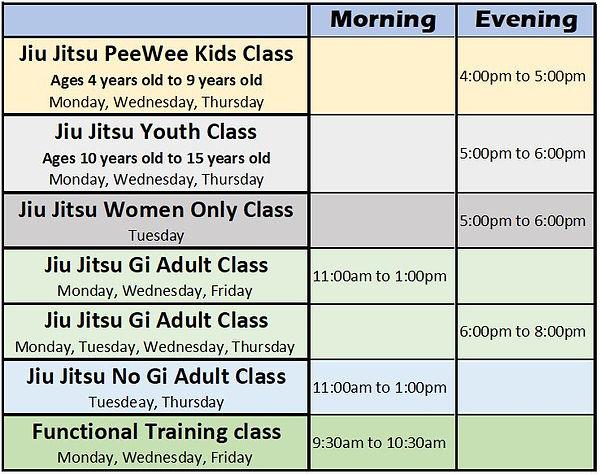 Schedule Beda BJJ Class