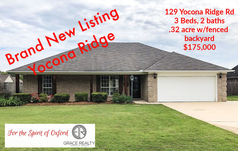 Ever hear if you sleep on it you may not sleep in it? Don't be that person with regrets! react and call Listing Realtor Kay Hightower-662.801.6692 for more details about this very attractive 3 bed, 2 bath with fenced backyard, fresh interior paint and carpet! Asking $175,000! Check it out on GraceRealtyOxford.com
