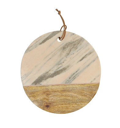 Tagliere tondo in marmo e legno