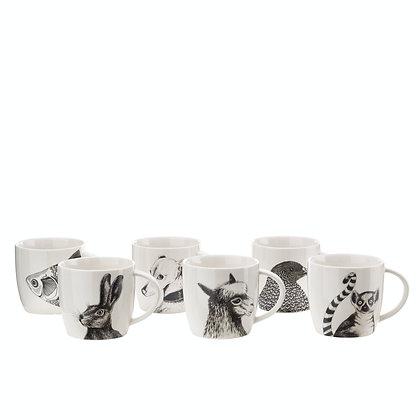 Set 6 tazza in porcellana smaltata animals