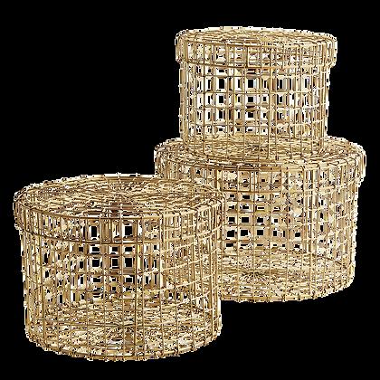 Set 3 scatole in rete di metallo oro